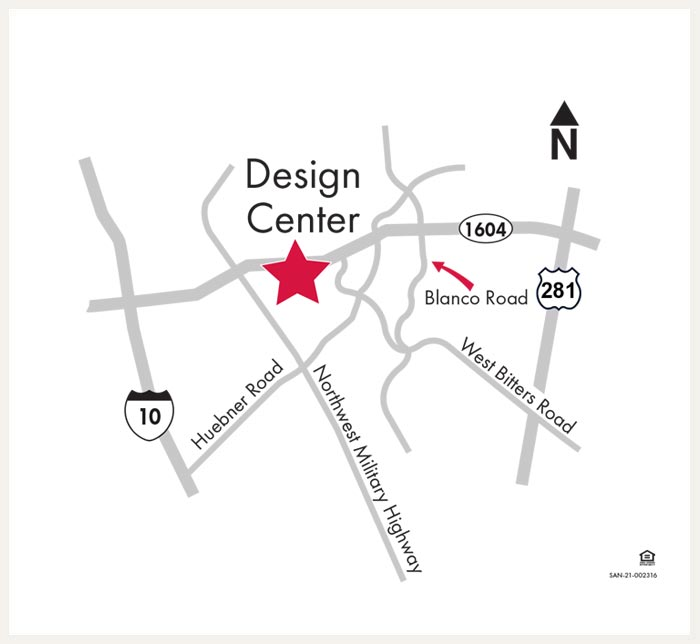 Map tp David Weekley Homes Design Center in San Antonio, TX