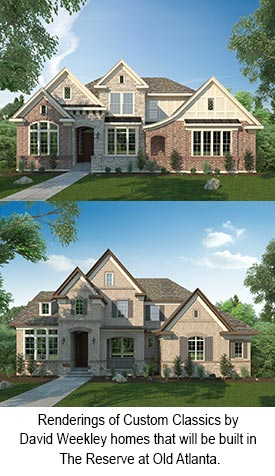 Renderings of Custom Classics by David Weekley homes that will be built in The Reserve at Old Atlanta.