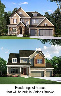 Renderings of homes that will be built in Vinings Brooke