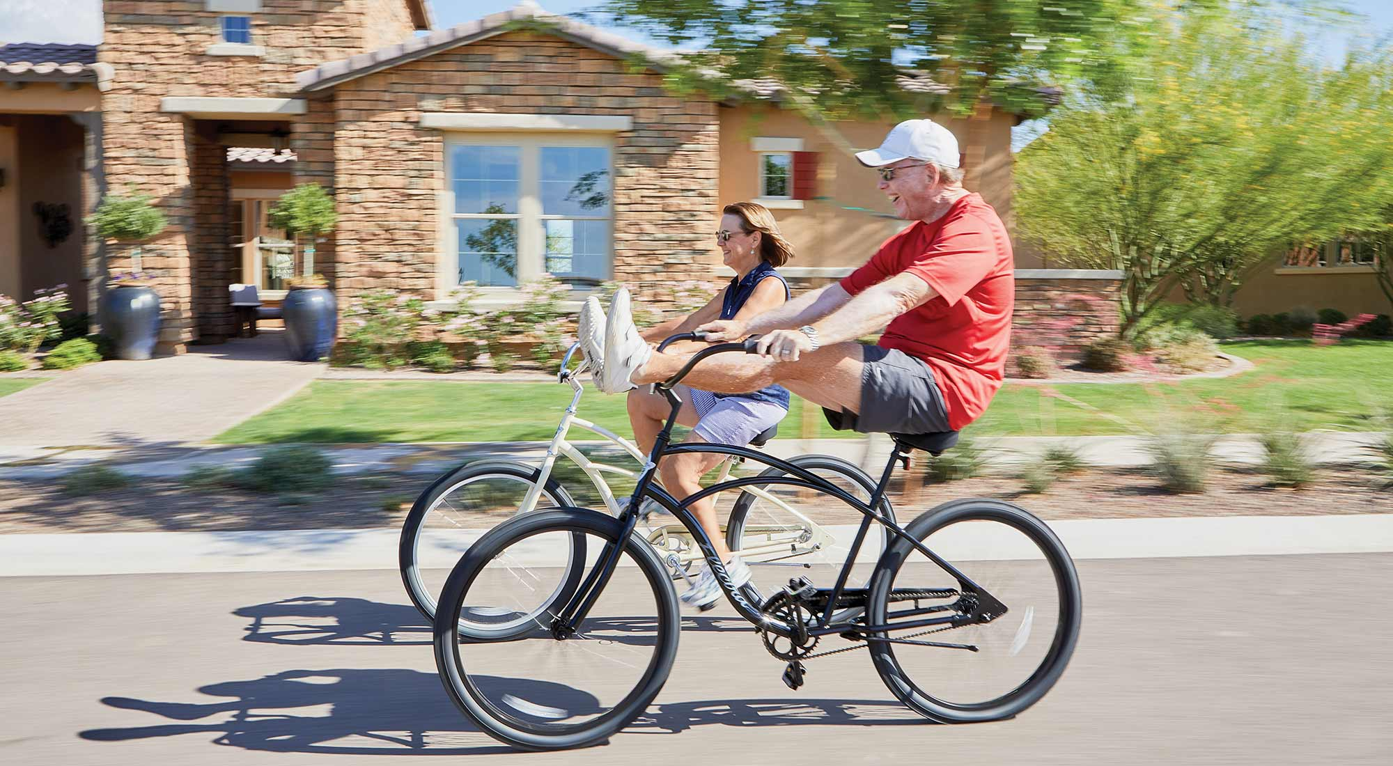 Active Adults riding bikes