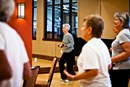 Residents working out in Aspen Lodge